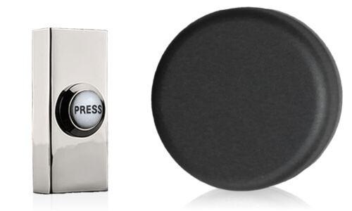 Chrome Press Matt Black Wind up Mechanical Doorbell