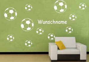 wandtattoo fussball fu ball fussb lle kinderzimmer sport wunschnamen wfb07 ebay. Black Bedroom Furniture Sets. Home Design Ideas