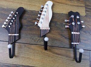 Details About Set Of 3 Decorative Guitar Head Design Wall Hooks Coats Keys Hats Home Decor