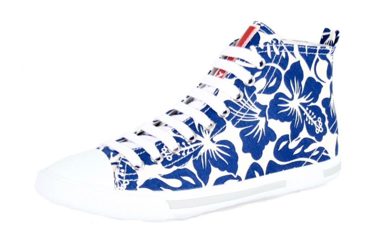 AUTHENTIC PRADA SNEAKERS 3T5731 WHITE BLUE FLORAL NEW US 6.5