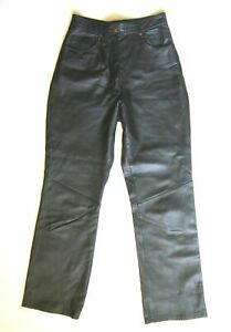 MARIE-CLAIRE-Womens-Sz-3-Black-High-Waist-100-Real-Leather-Pants-Trousers-XS