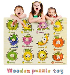 Nouveau bébé enfants en bois puzzle Puzzle Jouets forme trieur Educational Learning Toy UK