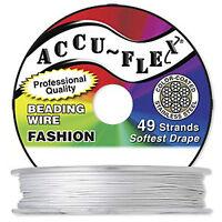 30' .019 Pearl Silver Accuflex 49 Str Beading Wire
