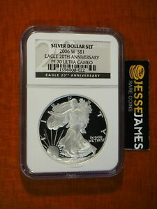 2006-W-PROOF-SILVER-EAGLE-NGC-PF70-FROM-20TH-ANNIVERSARY-SET-BLACK-LABEL
