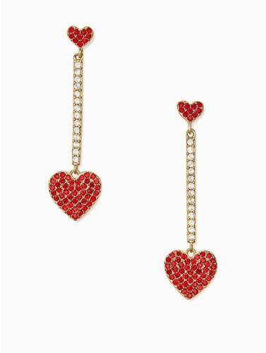 New Kate Spade New York Yours Truly Pave Heart Linear Earrings WBRUF129 $78