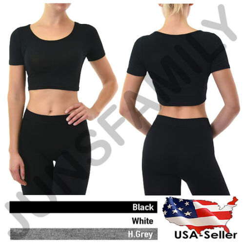 Womens Crop Cropped Scoop Neck Short Sleeve Basic Tank Top T-Shirts Tee Cotton