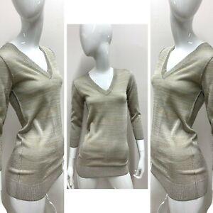 New-1-618-DOLCE-amp-GABBANA-Women-039-s-Gold-Silver-Lurex-Vneck-Sweater-Size-38-EUR