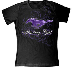 Ladies-Ford-Mustang-Purple-Pony-Mustang-Girl-sparkly-T-shirt-great-gift