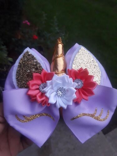 hair clip Unicorn hair bow headband 5 inch girls flowers birthday bow