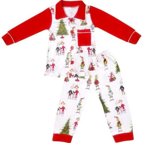 Red//White Baby Toddler Little Boys Christmas Grinch Pajama Set