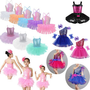 Kids-Girls-Lyrical-Dance-Dress-Party-Modern-Ballet-Leotard-Sequins-Dance-Costume