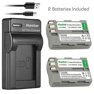 Kastar-2-Battery-Charger-for-Nikon-ENEL3e-25334-D100-D200-D300-D50-D70-D80-D90