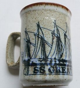 Vintage-SS-Great-Britain-Pottery-Mug-Stoneware-Dunoon-Ceramics-Scotland-VGC