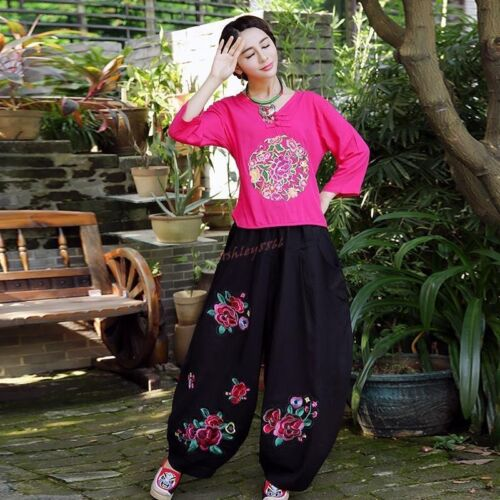 Women/'s National Flowers Linen Embroidered Floral Harem Pants Summer Trousers
