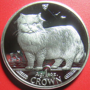 1989-ISLE-OF-MAN-1-ONE-CROWN-1oz-999-SILVER-PROOF-CAT-FELINE-WORLD-COIN-39mm