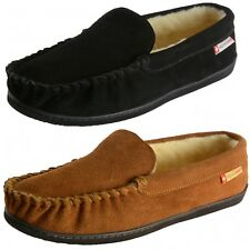 Alpine Swiss Yukon Mens Suede Shearling Moccasin Slippers Moc Toe Slip On Shoes