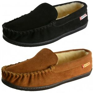 Genuine Shearling Suede Men's Alpine Swiss Yukon Slippers