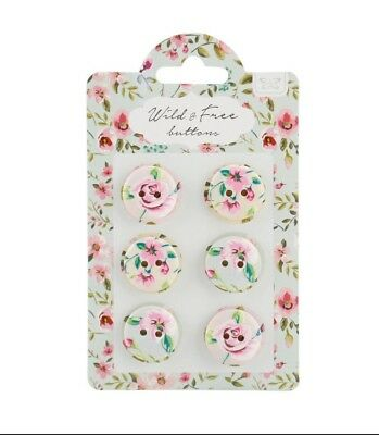 Shabby Chic Wild & Free Floral Wood Buttons Carded Set of ...