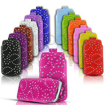 DIAMOND BLING PU LEATHER PULL TAB CASE COVER POUCH FITS VARIOUS ALCATEL MOBILES