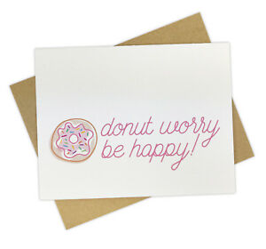 Donut worry be happy cute encouragement or sympathy greeting card image is loading donut worry be happy cute encouragement or sympathy m4hsunfo