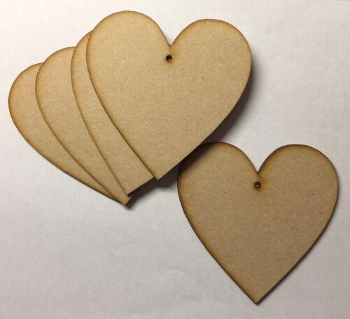 5 cm En bois 50 mm MDF Coeurs Blanc Craft Formes Signes avec trous.
