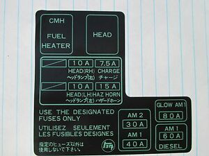 s l300 1984 1985 1986 1987 1988 toyota pickup new fuse box label ebay 1986 toyota pickup fuse box at bakdesigns.co