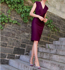 J.Crew V-neck dress in super 120S wool $178, size 12, cabernet wine