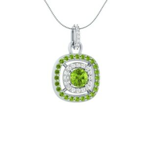 1-45-CT-Round-Solitaire-Green-Peridot-18-034-Necklace-Pendant-14k-White-Gold-GP-Her