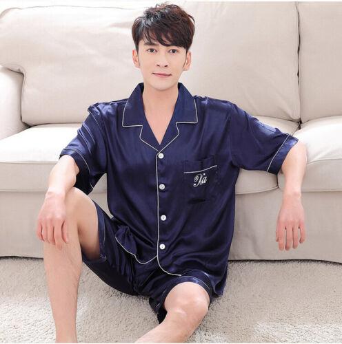 Details about  /2PCS Womens Mens Satin Pyjama Set Silk Night Wear Pajamas Short Sleeve Homewear