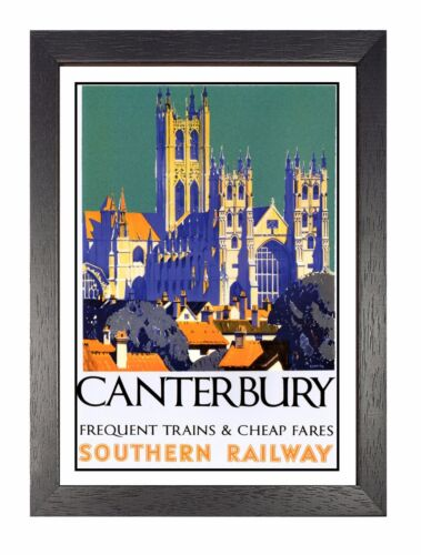 Canterbury Adventure Travel Holiday Beautiful View Poster Cathedral Advert