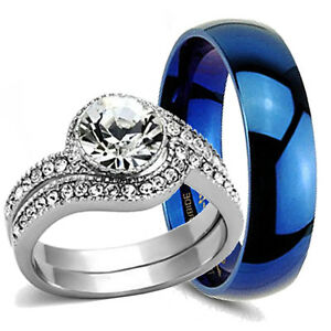 3 pc his hers stainless steel blue tungsten engagement for 3pc wedding ring set
