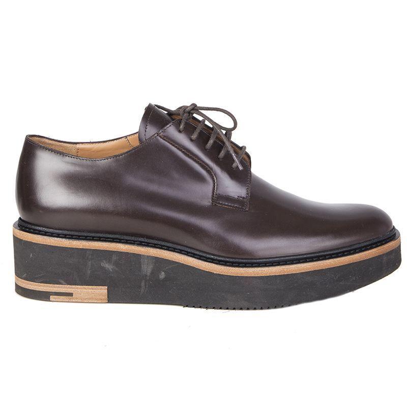 56473 auth DRIES Van Noten Noten Noten dark brown leather PLATFORM Derby Flats shoes 40 bd01ae