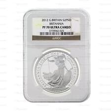 New 2012 UK GB Silver Britannia 1oz NGC PF70 Ultra Cameo Graded Slab Coin