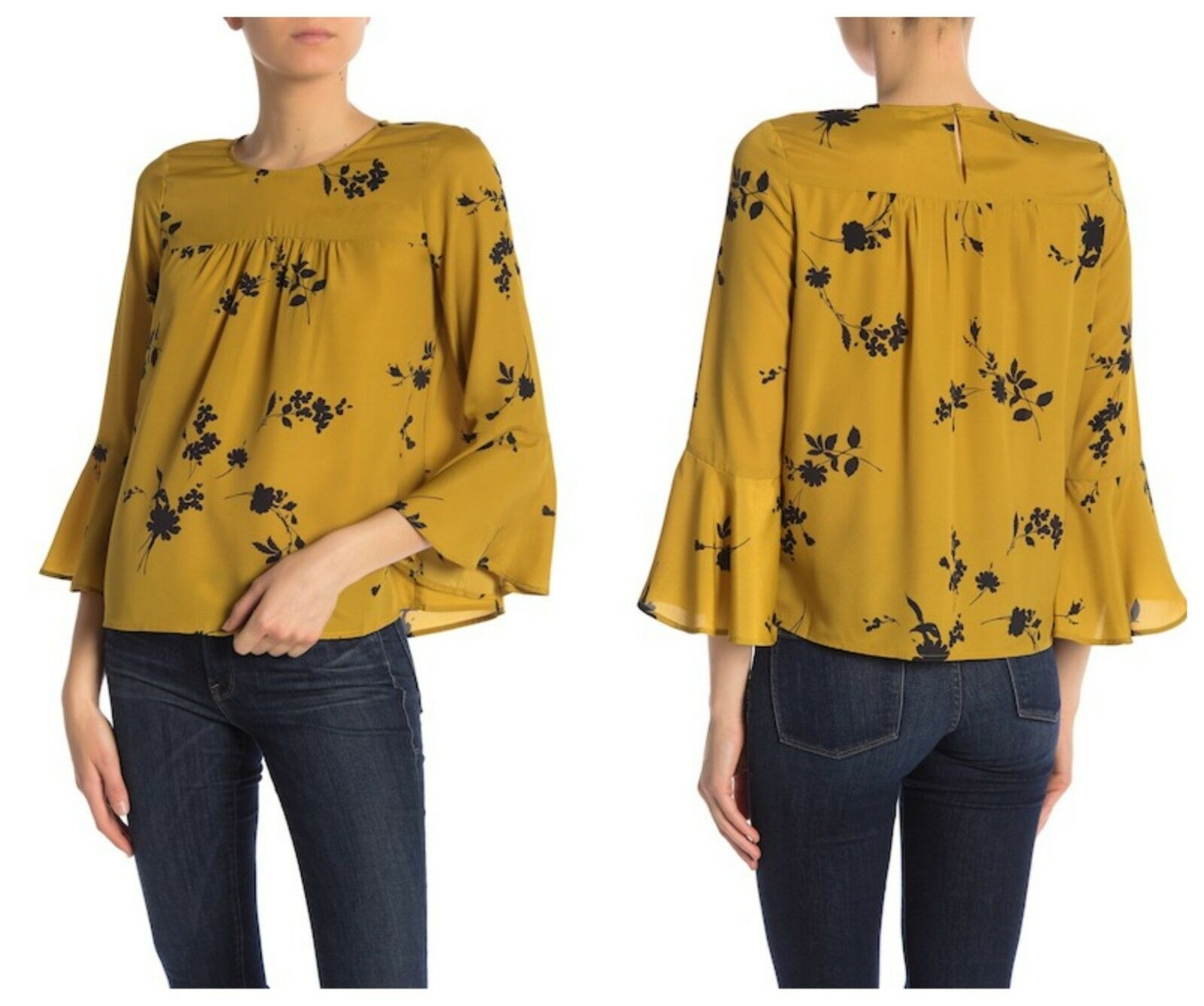 Joie damen Awilda Floral Goldenrod Keyhole Back Bell 3 4 Sleeves Blouse XS