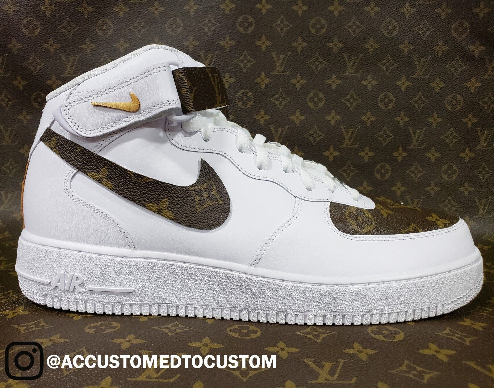 NIKE AIR FORCE 1 MID | MADE W/ GENUINE LOU!S VU!TTON MONOGRAM CUSTOM Not Jordan