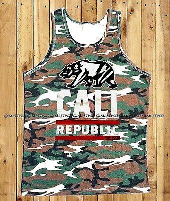 Men/'s CALI CAMO Tank Top dope california republic kush swag diamond rave weed