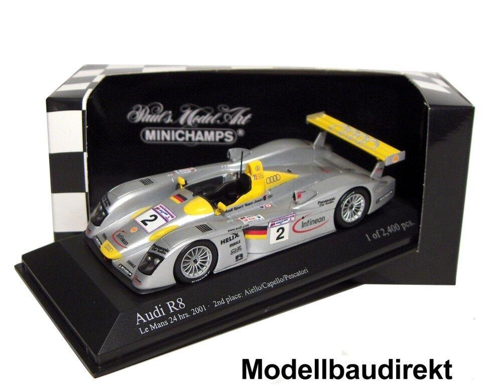 AUDI r8 Le Mans 2001 Aiello Capello Posillipo 1 43 Minichamps 400011202 NUOVO & OVP