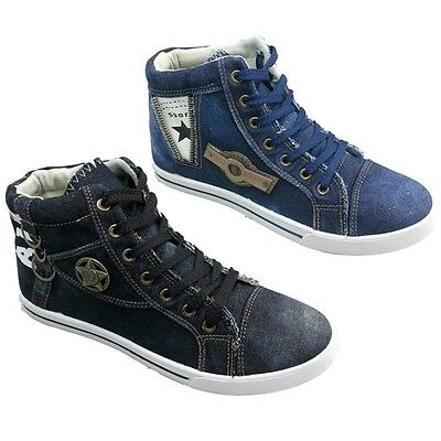 Men's Denim Sneakers Casual Canvas Jeans Shoes High-Top Stone-Washed Boots Sizes