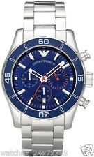 EMPORIO ARMANI CHRONOGRAPH MEN'S WATCH AR5933 STEEL CASE & BRACELET BLUE DIAL