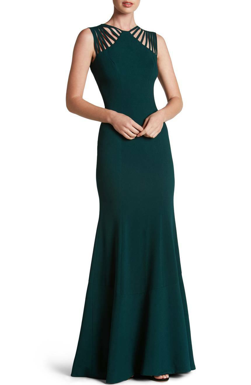 NWT Dress the Population Harlow Crepe Gown in Pine Green [SZ Medium]  N983