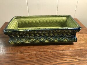 Vintage-MCM-Retro-NAPCOWARE-Ceramic-Rectangular-Planter-Blue-Lime-Green-4x9x2-5