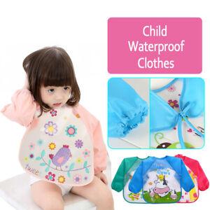 Long Sleeve Waterproof Feeding Art Apron Bib Baby Child Boys Girls Toddler Kids