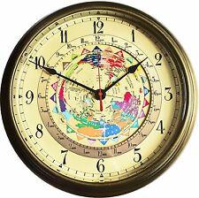"Trintec Massive 14"" Antique Brass 12 24 Hour Clock World Time Global UTC"