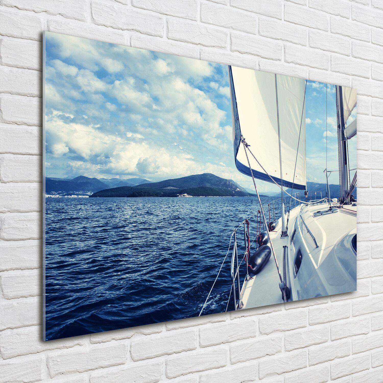 Glas-Bild Wandbilder Druck auf Glas 100x70 Deko Landschaften Yacht Meer