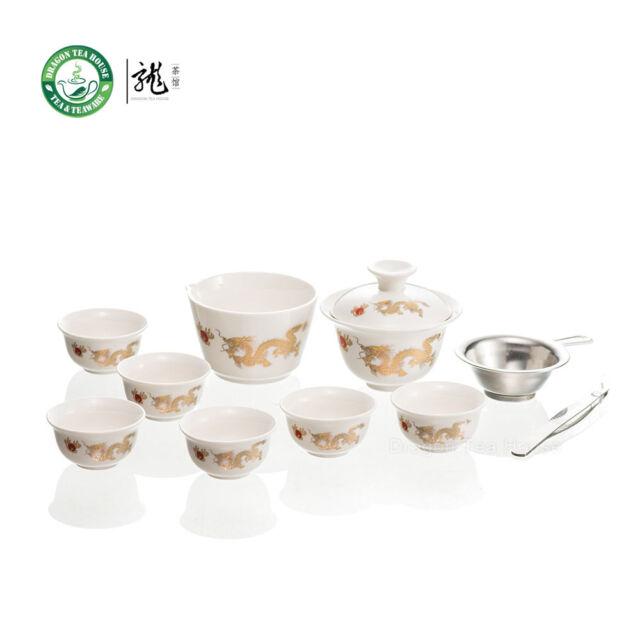 Golden Dragon White Porcelain Gongfu Teaset w/t Travelling Bag * Set of 11