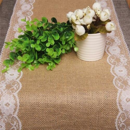 Hessian Lace Table Runner Burlap Rustic Vintage Wild Wedding Party Decorations