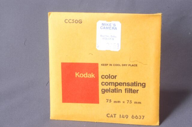 "CC50G green, sealed 75mm Square Kodak Wratten 3"" gelatin filter 149 6637"