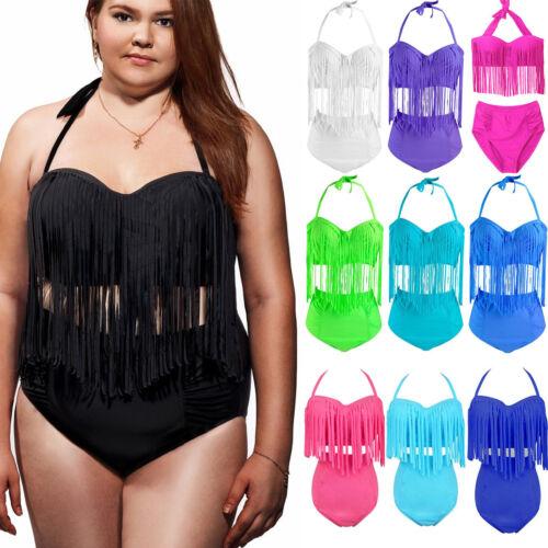 Women Tassel Bikini Tankini Monokini Push Up Swimwear Beach Swimsuit Plus Size