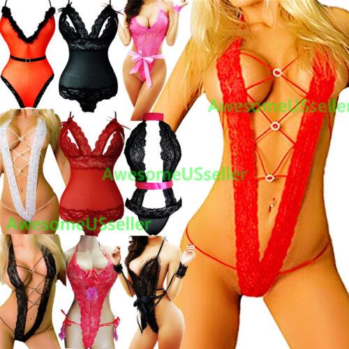3 Lace Lingerie Sleepwear Bodycon Bodysuit Rompers Jumpsuit Playsuit Plus Size