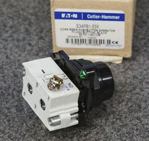 EATON E34PB1-53X PUSHBUTTON OPERATOR SWITCH 30MM NEMA 4X 1 NO CONTACT BLOCK E34